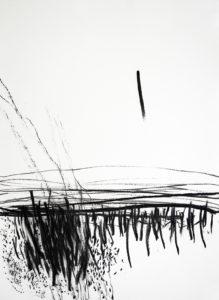 Grenzwandler 1 - inbetween the lines 1 | 70 x 50 cm | Kohle auf Papier | 2018