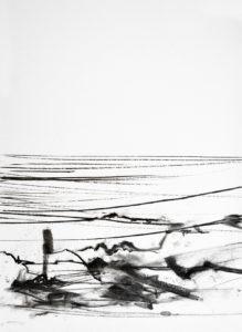 Grenzwandler 2 - inbetween the lines 2 | 70 x 50 cm | Kohle auf Papier | 2018